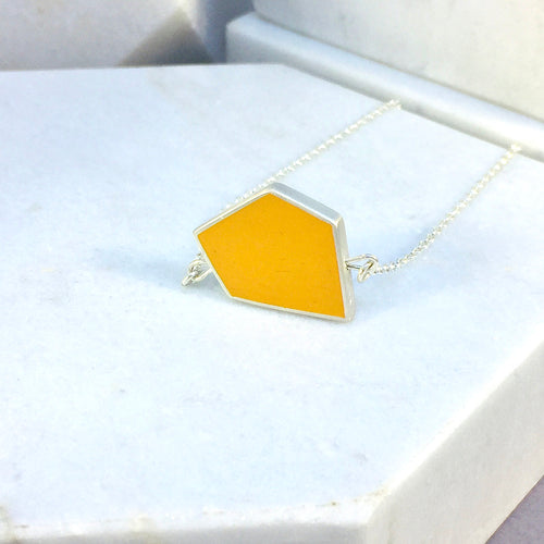 Reversible - Fragment pendent in silver and resin - yellow & turquoise