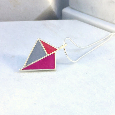Reversible - Kite pendent in silver and resin - Red & blue