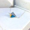 Reversible - Kite pendent in silver and resin - Red/yellow & blue/yellow