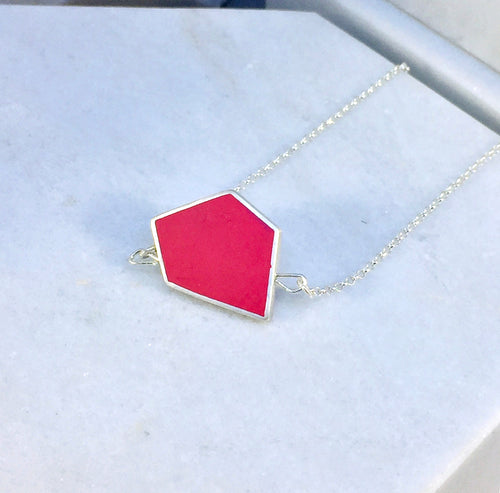 Reversible - Fragment pendent in silver and resin - in berry red & grey