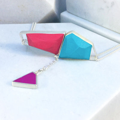 Magnetic - Reversible Necklace - 36 combinations - red, orange, blue, turquoise with pink/green drop