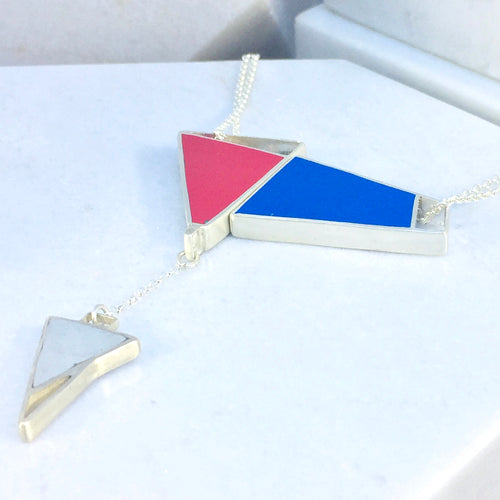 Magnetic - Reversible Necklace - 24 combinations - red, grey, blue, green with grey drop