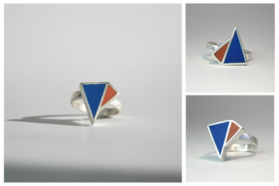 Minimalist ring - pop of colour - sliver and resin- customise own colours