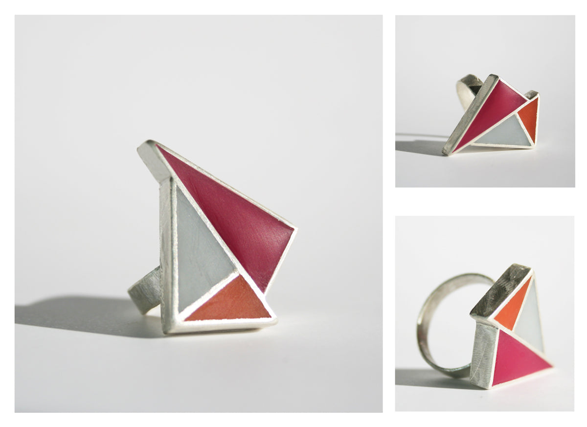 Minimalist & striking ring- sliver and resin- in red, grey and orange
