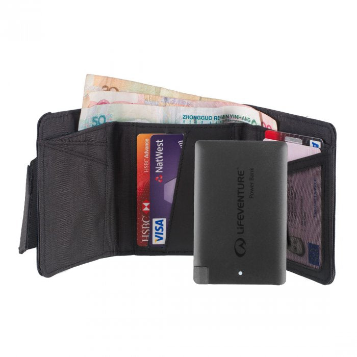 RFID Charger Wallet Grey With Power Bank