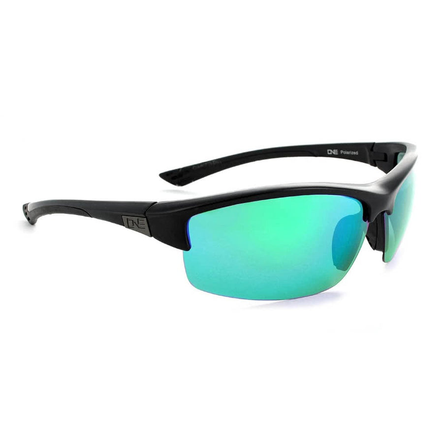 Mauzer Matte Black with Polarized Smoke w/Green Mirror lens