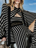 Keisha Two Piece Stripe Coat and jumpsuit
