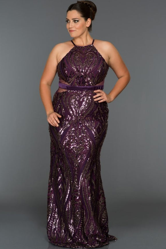 Scarlet plum sequined evening dress