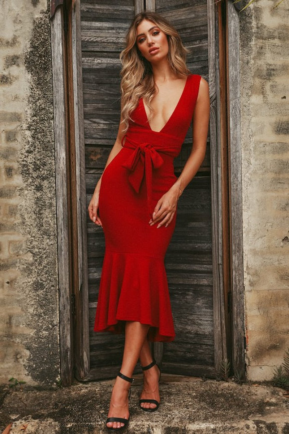 Dorah red sleeveless bandage dress