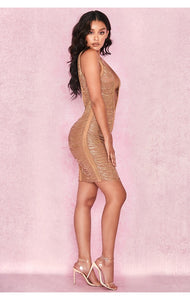 Tinash Gold Chain Drape Dress