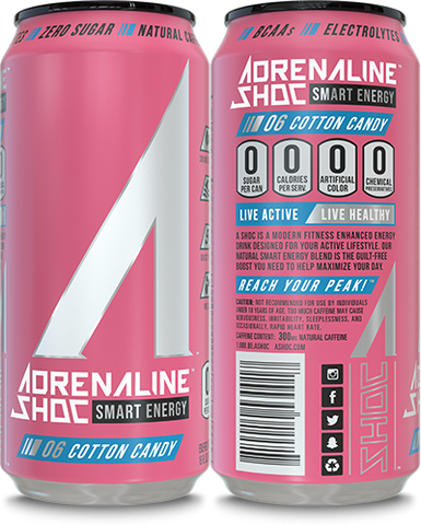 Adrenaline Shoc 12 Pack Case - 16 oz cans - COTTON CANDY - Vikn Sports