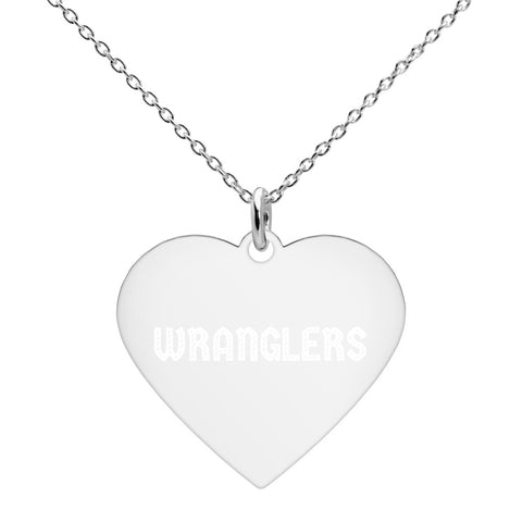 Wranglers Engraved Silver Heart Necklace - Vikn Sports