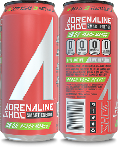 Adrenaline Shoc 12 Pack Case - 16 oz cans - PEACH MANGO - Vikn Sports
