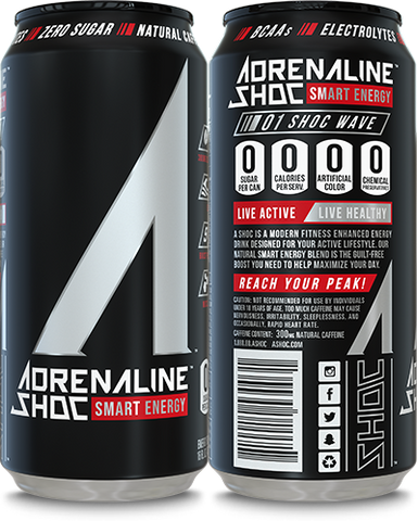 Adrenaline Shoc 12 Pack Case - 16 oz cans - SHOC WAVE - Vikn Sports