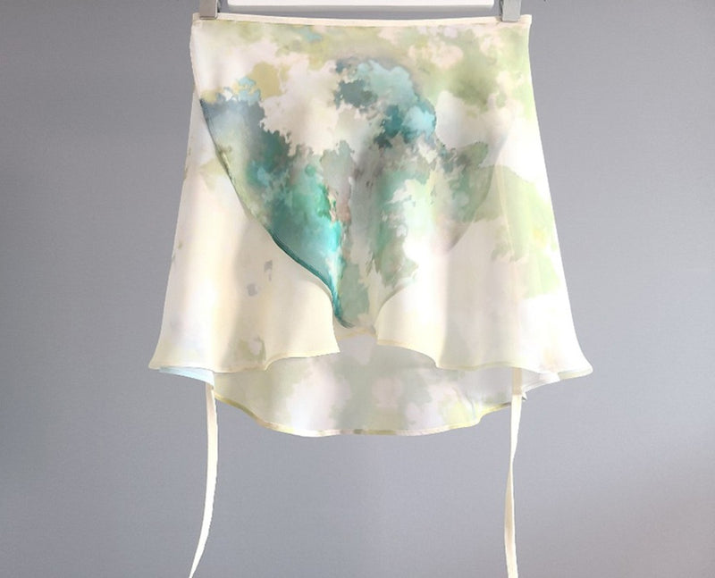 Sissone Wear Watercolour Mint Wrap Skirt from Ma Cherie Dancewear Australia