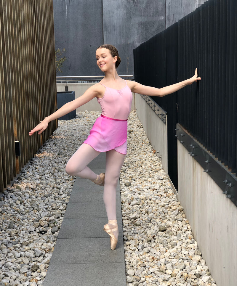 Pink Ombre Chiffon and Satin Tie Ballet Wrap Skirt - Dancewear Australia