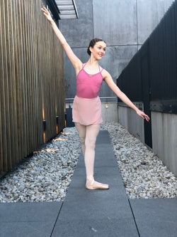 Dusty Pink Chiffon and Satin Tie Ballet Wrap Skirt - Dancewear Australia