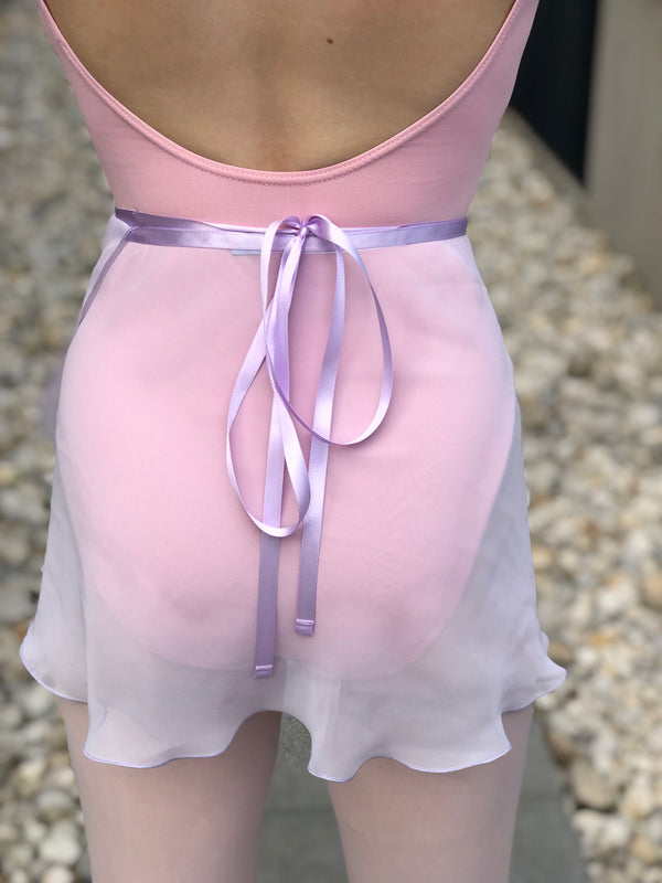 Lilac chiffon and satin tie ballet wrap skirt - Dancewear Australia