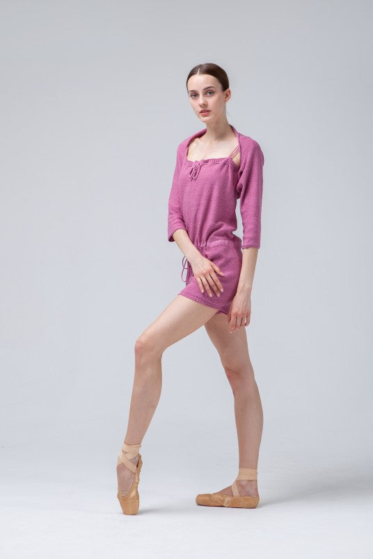 Dusty Rose Knitted Dance Warmers  Shorts Set
