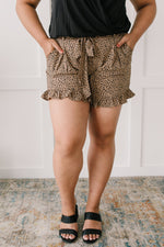 Short Leash Ruffled Shorts In Taupe