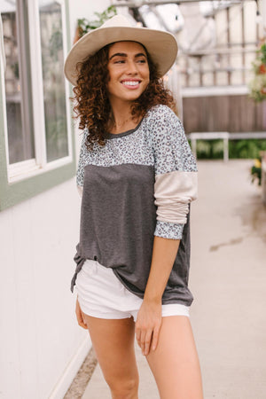 Maggie Raglan Top in Charcoal