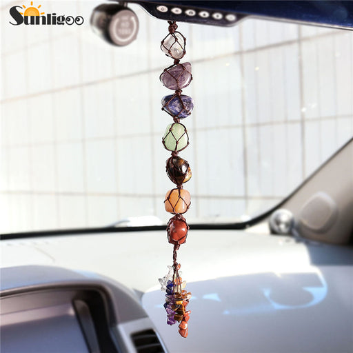 Sunligoo 7 Chakra Tumbled Gemstone Tassel Spiritual Meditation Hanging/Window/Feng Shui Ornament Natural Stone Car/Home Decorate