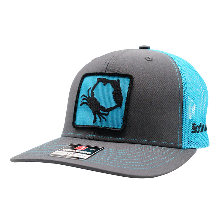 Charcoal/ Neon Blue Sodium Crab Patch Adj Hat