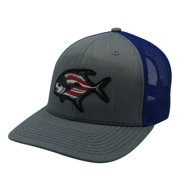 Heather Grey/Blue American Permit Adj Hat
