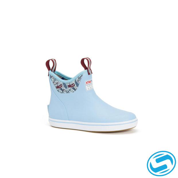 "Xtra Tuf Women's Salmon Sisters Ankle Deck Boot ""Light Blue/Mermaid Life"""