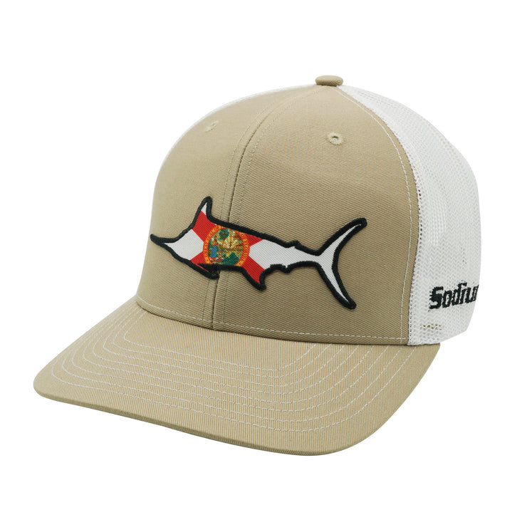 Khaki/White Florida Flag Marlin Adj Hat
