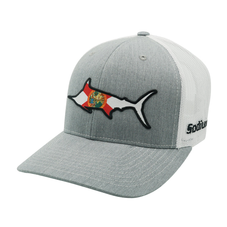 Heather Grey/White Florida Flag Marlin Adj Hat
