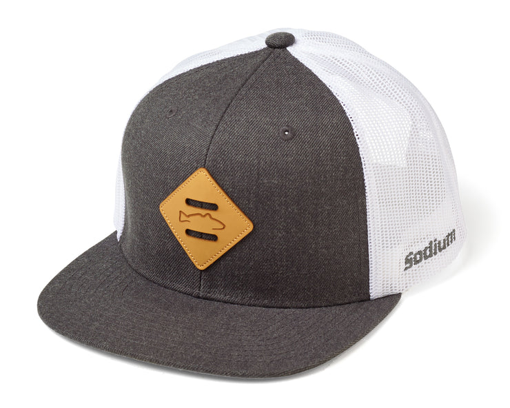 Dark Grey/White Diamond Redfish Patch Flatbill Adj Hat