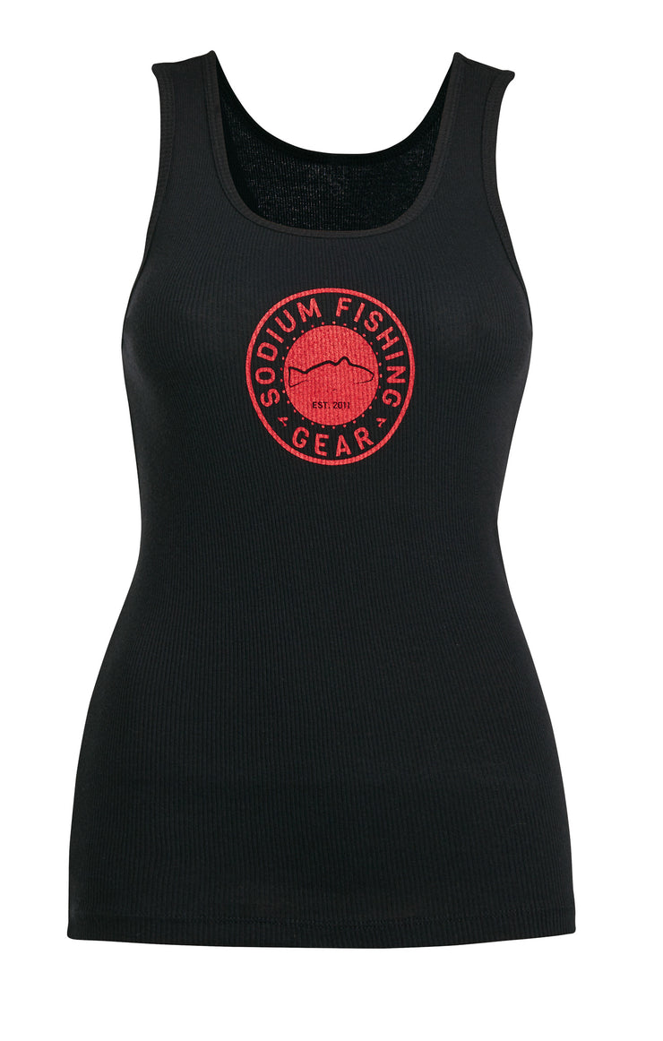 Black Red Ribbed Red Tank