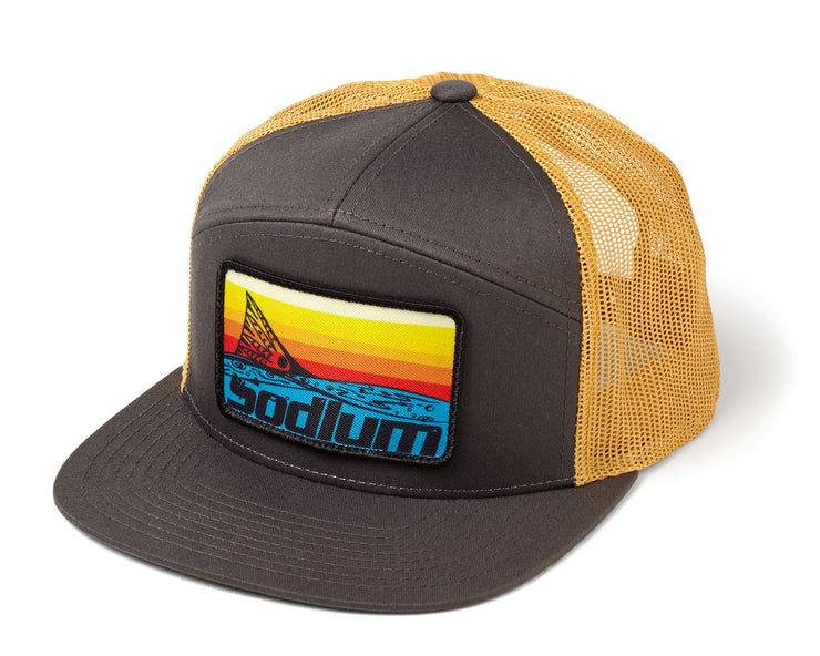 Charcoal Gold Sunset Redfish Patch 7 Panel Flatbill Adj Hat