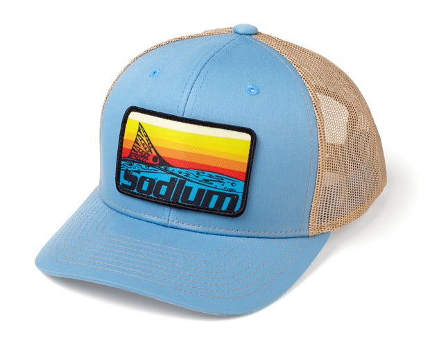 Columbia Blue/Tan Sunset Redfish Patch Adj Hat