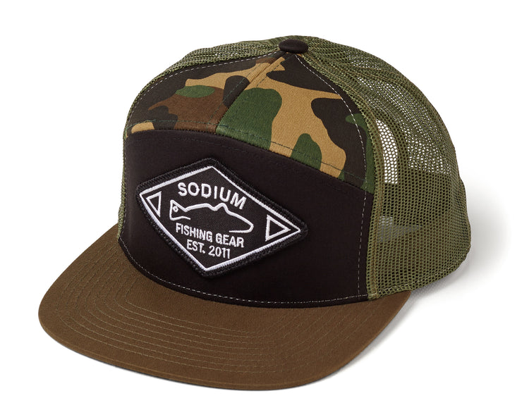 Camo/Army Green  Est. Redfish 7 Panel Flatbill Adj Hat