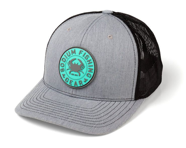 Heather Grey Black Crab PVC Patch Adj Hat