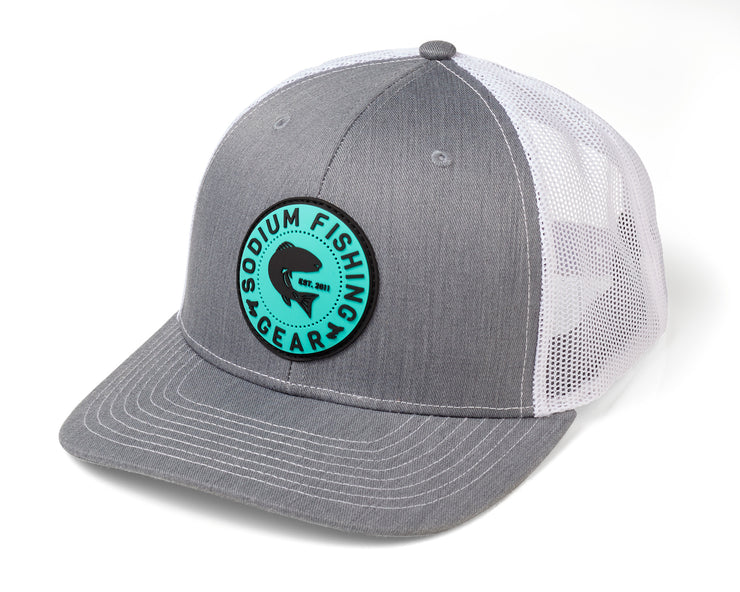 Heather Grey White Redfish PVC Patch Adj Hat