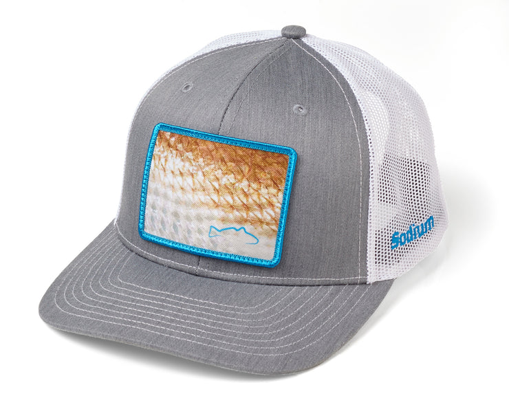 Heather Grey White Redfish Scale Patch Adj Hat