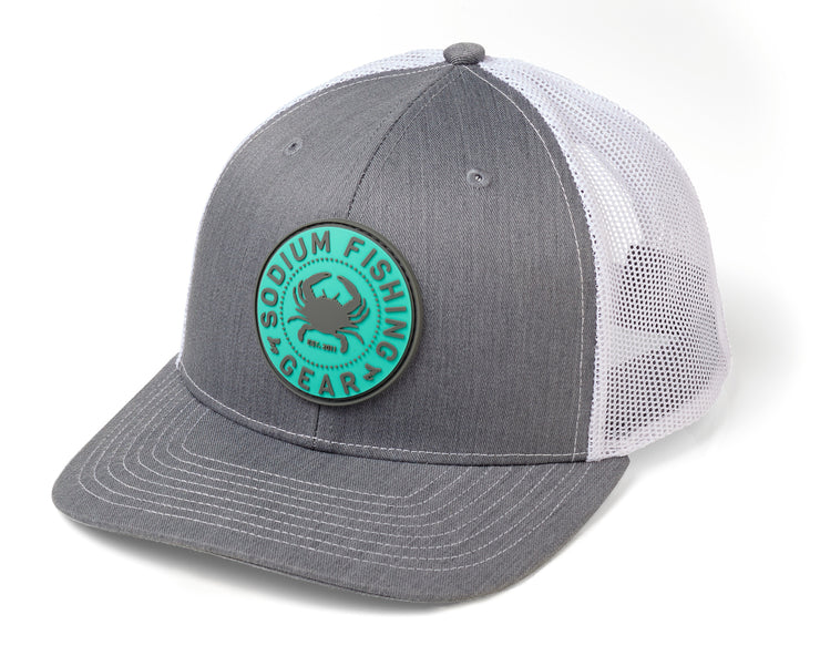Heather Grey White Crab PVC Patch Adj Hat