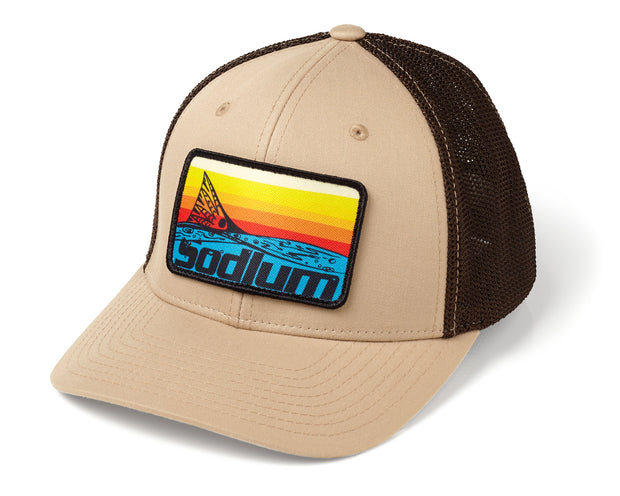 Khaki/Coffee Sunset Redfish Patch Flexfit Hat