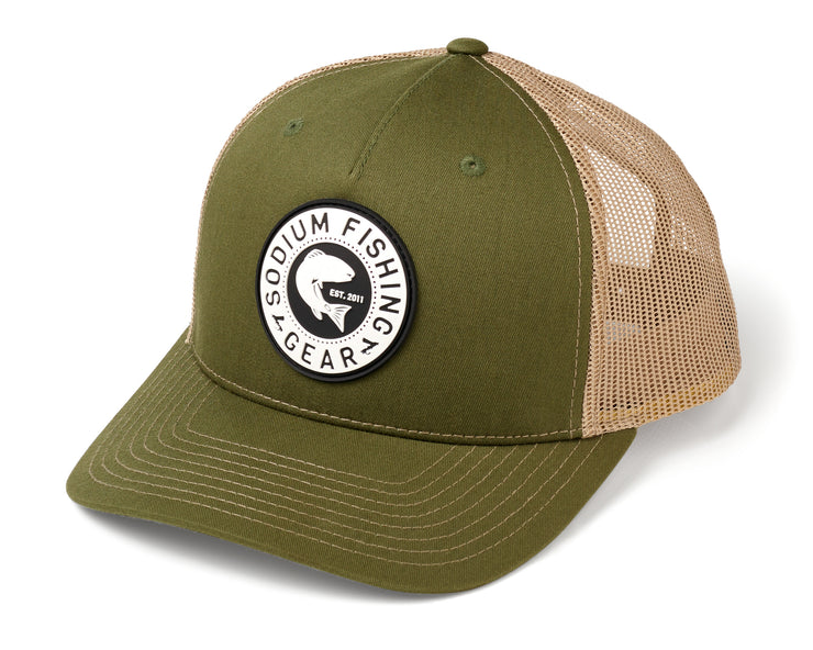 Split Dark Olive/Tan/Redfish PVC Patch Adj Hat