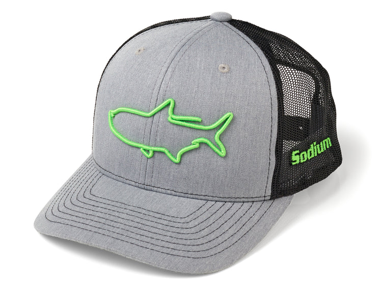 Heather Grey/Black 3D FL. Green Tarpon Adj Hat