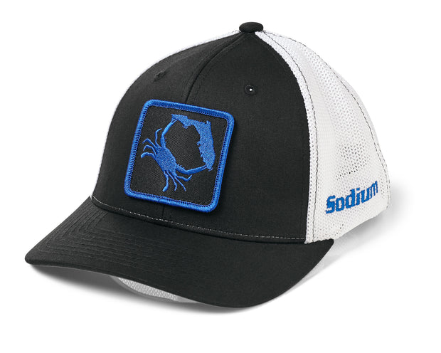 Fitted Black White Royal Blue Florida Blue Crab Hat