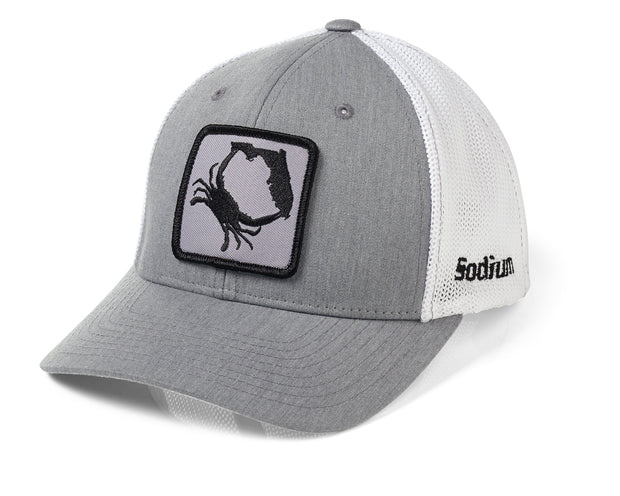 Fitted Heather Grey White Black Florida Blue Crab Hat