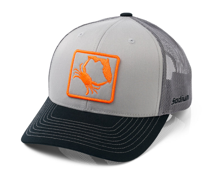 Charcoal Grey Black FL. Crab Adj Hat