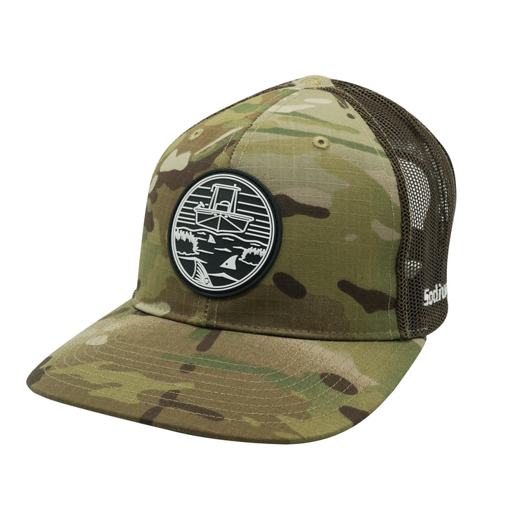 Original Camo/Coyote Brown PVC Skiff Marsh Patch Adj Hat