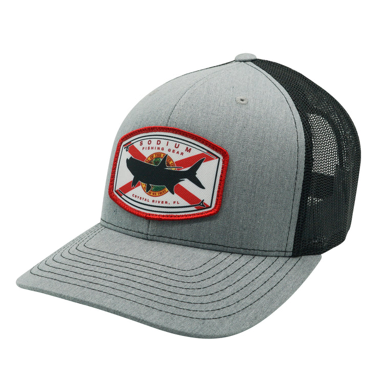 Heather Grey/Black Florida Flag Tarpon Adj Hat