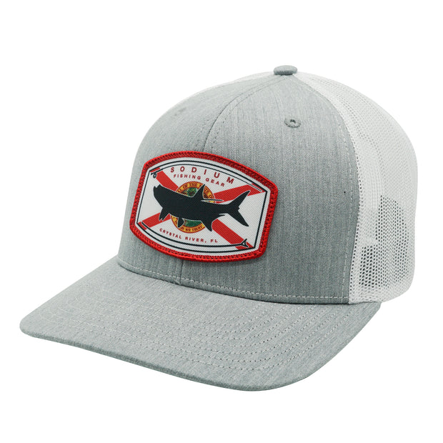 Heather Grey/White Florida Flag Tarpon Adj Hat