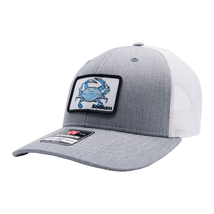 Youth Grey/White Sodium Blue Crab Patch Adj Hat